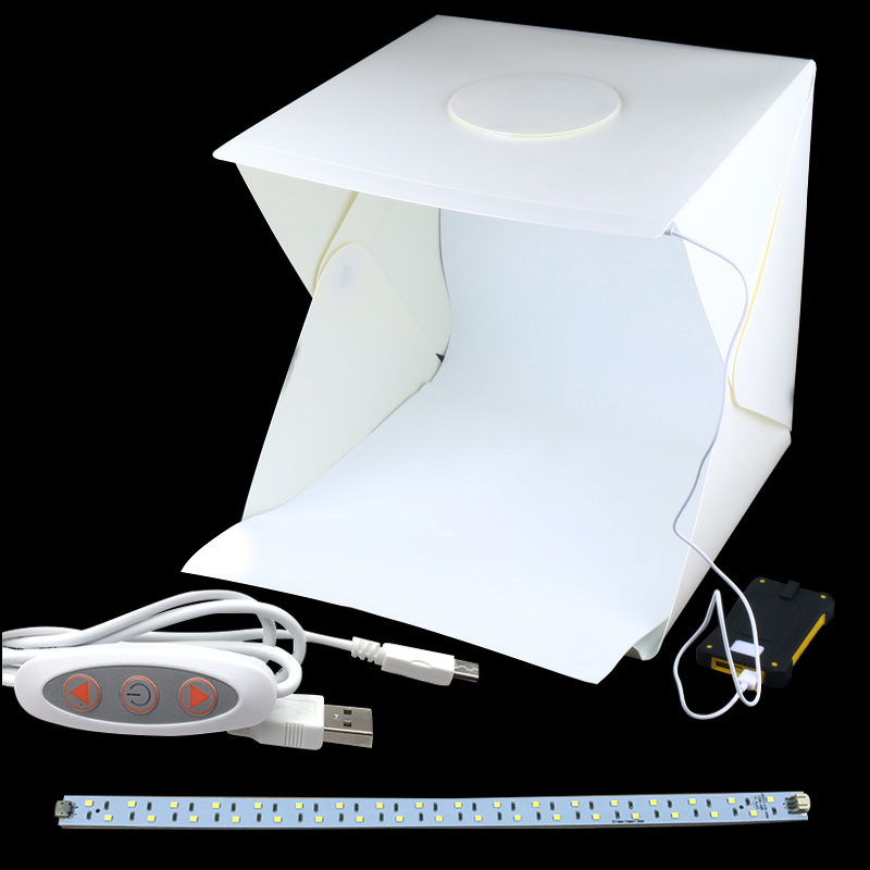 Portable Folding Studio Diffuse Soft Box With Led Light Black White Photography Background Photo Studio Box Camera & Photo Accessories Photo Studio Accessories