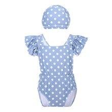 купить 2pcs Set Cute Baby Kids Girl clothes for Swimming Ruffle Polka Dot Criss-cross Back Bodysuit Swimsuit Bathing Cap Girls Swimwear онлайн