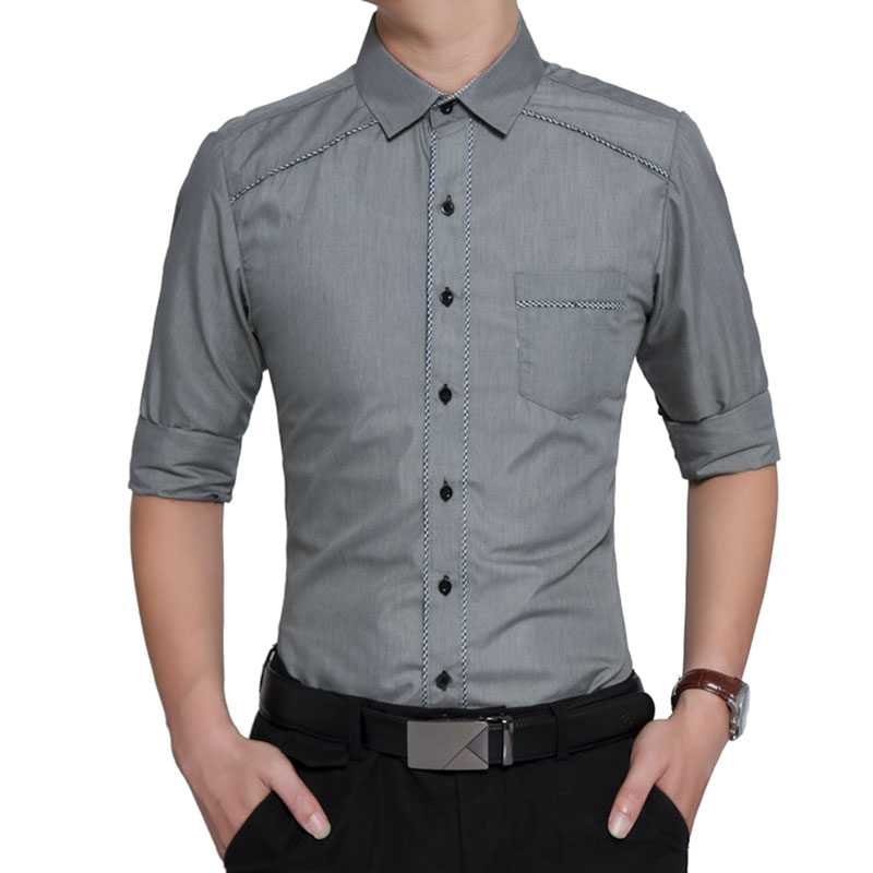 New 2017 Man Spring Autumn Long Sleeve Dress Shirts High Quality Casual Men Slim Fit Social Shirts Plus Size 2XL