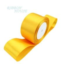 (25 ярдов/рулон) 2 »(50 мм) оранжевый желтый одно лицо атласной лентой лямки украшения подарок Рождество лентами