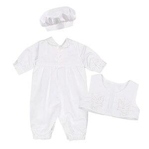 Image 4 - Dla dzieci chłopcy chrzciny strój niemowlę chłopiec ślub urodziny Romper kamizelka kapelusz Gentleman formalne garnitury chłopców chrzest Baby Boy ubrania