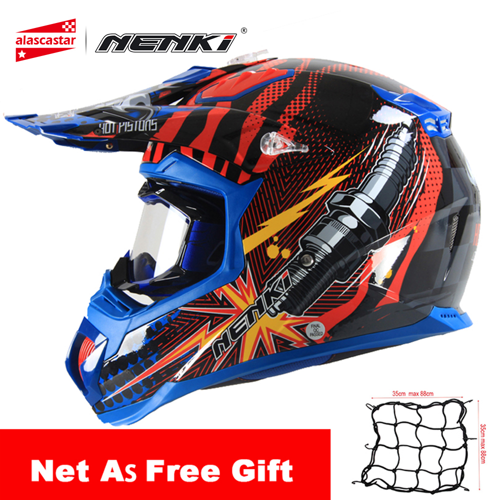 цена на NENKI Motorcycle Helmet Motocross Off-Road Riding Full Face Moto Helmet Men Summer Motorcycle Racing Helmet with Goggles Set