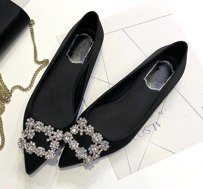 on Zapatos Mujer Europeo Plana As Zapatos Fiesta Seda De Diseño Slip Del Cuadrado Pic Pie as dedo Cristales 2018 Casuales Nuevo Puntiagudo Pic qgHayFzFf