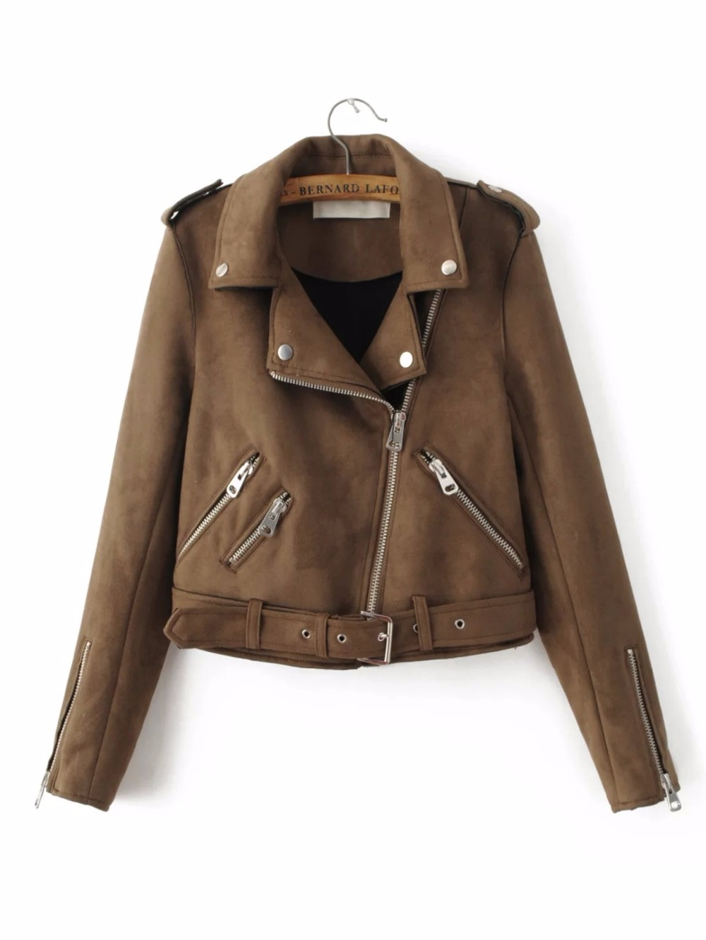 Womens Casual Coat New Arrival Autumn Lapel Long Sleeve Suede Belted   Basic     Jacket   With Zipper Outwear