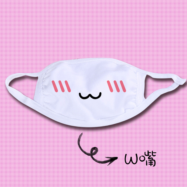 Kawaii Dust Mask 1PC Kpop Cute Anime Cartoon Mask Muffle Emotional Mask Kpop Funny Unisex  Cotton  Mask 2