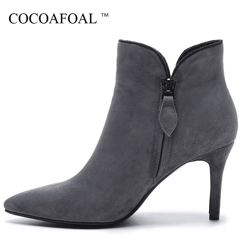 COCOAFOAL Woman Genuine Leather Chelsea Boots Black Gray Bottine Autumn Winter High Heels Boots Pointed Toe Ankle Boots 2018 enmayla autumn winter chelsea ankle boots for women faux suede square toe high heels shoes woman chunky heels boots khaki black