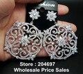 Hight Qualidade Oco Forma de Flor Grande Brincos Gota com Micro Cubic Zirconia Jóias de Casamento de Luxo para As Mulheres