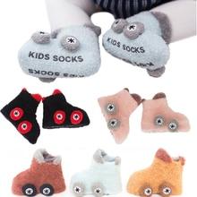 Coral fleece Baby Socks Cute Car Pattern Baby Girls Socks Newborn Soft Winter Warm Newborn Non-slip toddler socks 0-1-3Y цена