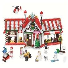 Купить с кэшбэком 492pcs Creator Winter Holiday Village Station Toy Building Blocks Children Kids Toys Bricks Compatible With Legoings