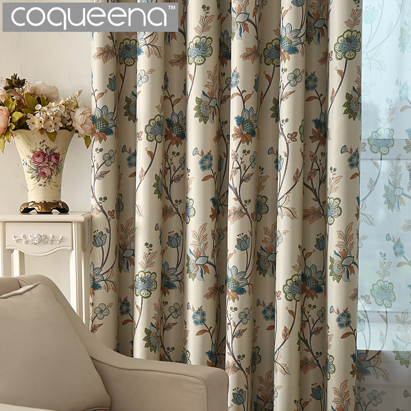 Ready Made Custom Vintage Floral Blackout Curtains For