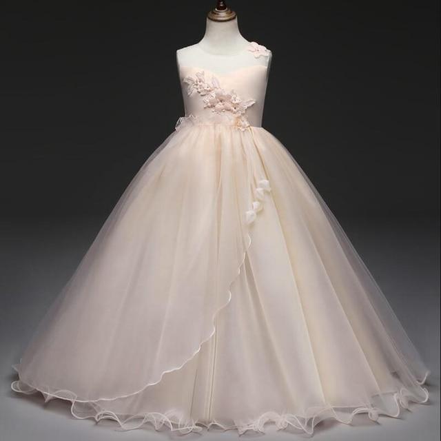 От 5 до 14 лет, новый костюм, платье для первого причастия для девочек, платье с цветочным узором для девочек, подростковое бальное платье, день рождения, детская одежда, Vestido