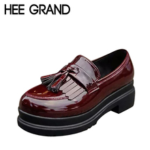HEE GRAND 2016 New Women Oxfords British PU Patent Leather Platform Flats Spring Round Toe Slip-on Casual Shoes Woman XWD3511