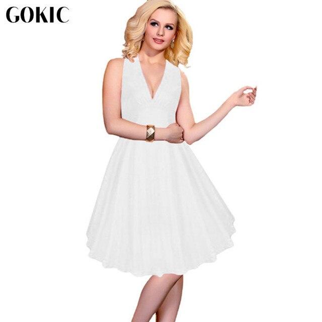 Gokic 2017 New 50 S Vintage Marilyn Monroe Style V Neck Halter Tutu Dresses Women Retro