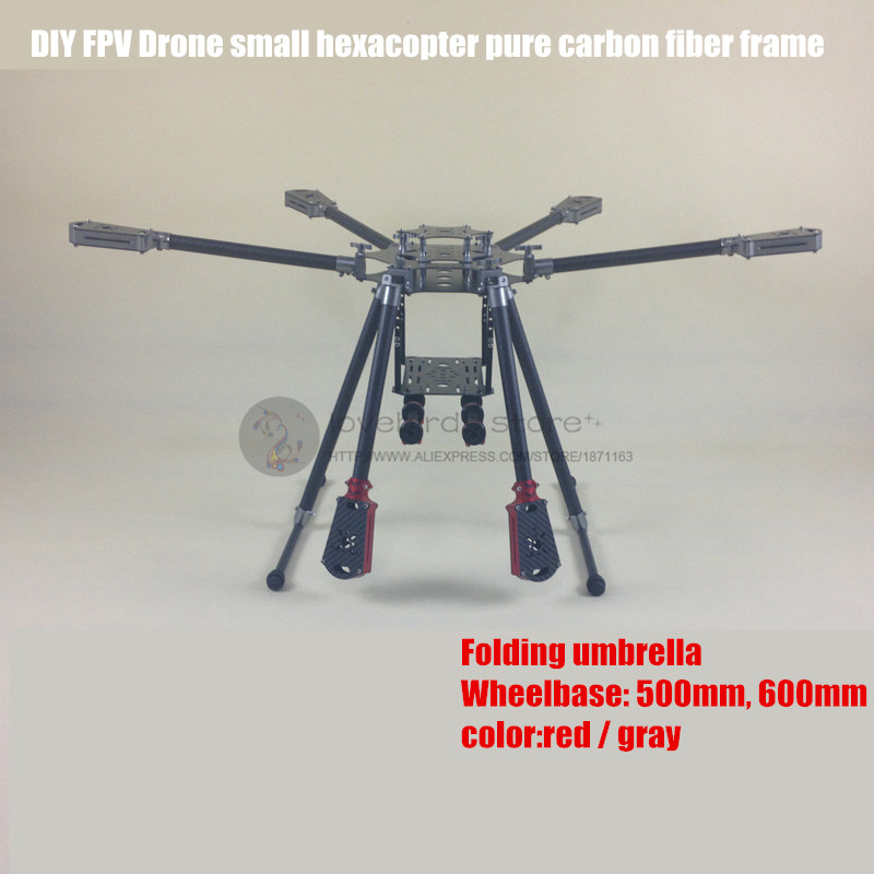 DIY FPV Aerial drones Aluminum folding umbrella small hexacopter pure carbon fiber frame with landing gear Wheelbase 500-600mm