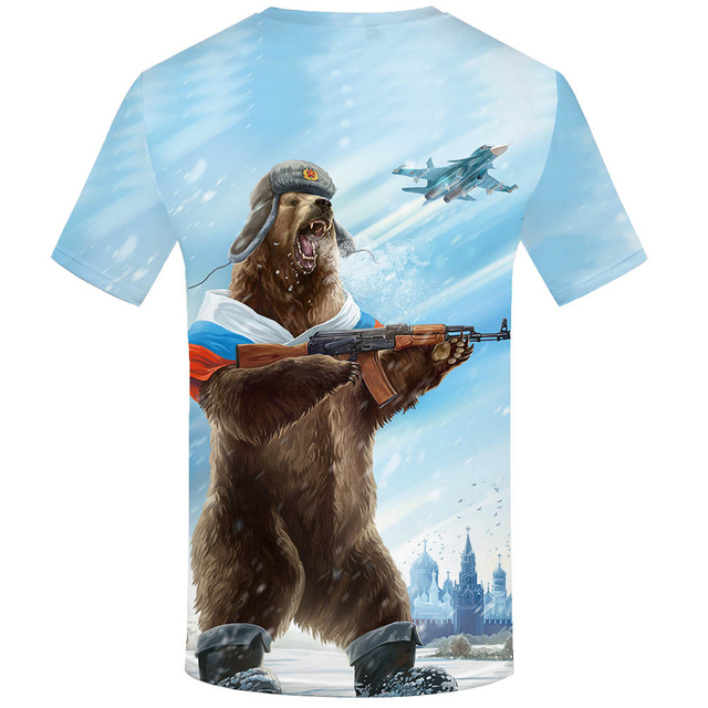 Bear War Military Clothes Gun 3D T shirt 1
