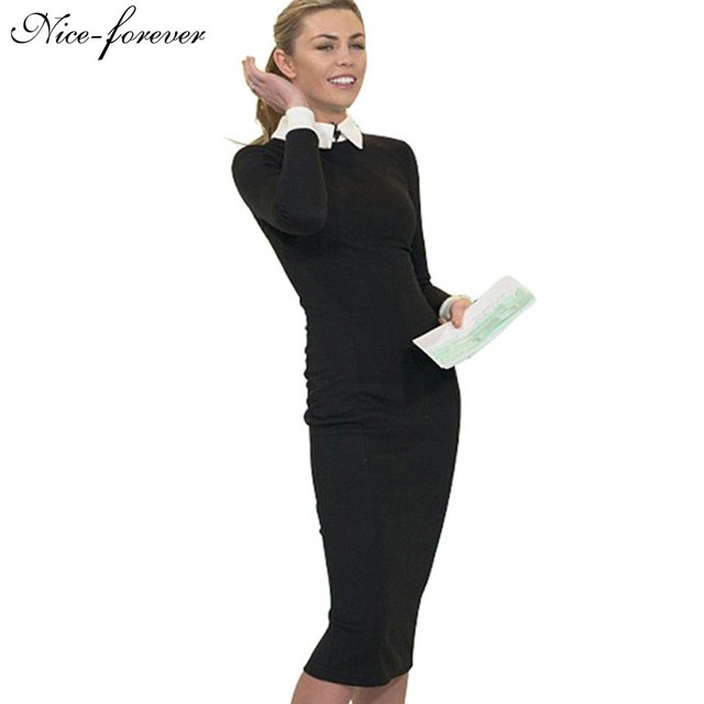 37010dce9a3 Nice-forever Career Women Autumn Turn-down Collar Fit Work Dress Vintage  Elegant Business