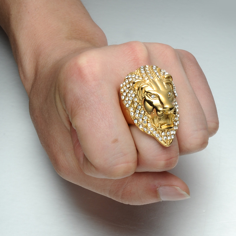 HIP Hop Micro Pave Rhinestone Iced Out Bling Lion Head Anillo para - Bisutería - foto 5
