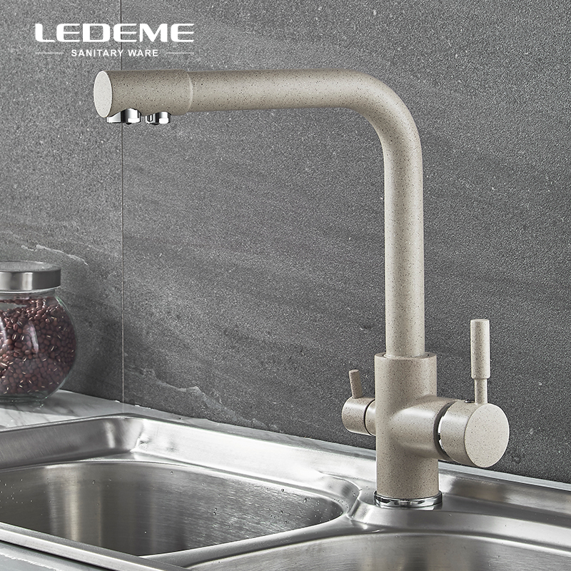 все цены на LEDEME Filter Purification Kitchen Basin Faucet With Drinking Water Sprayer Dual-Handle Bar Water Tap Mixer Brass L4055