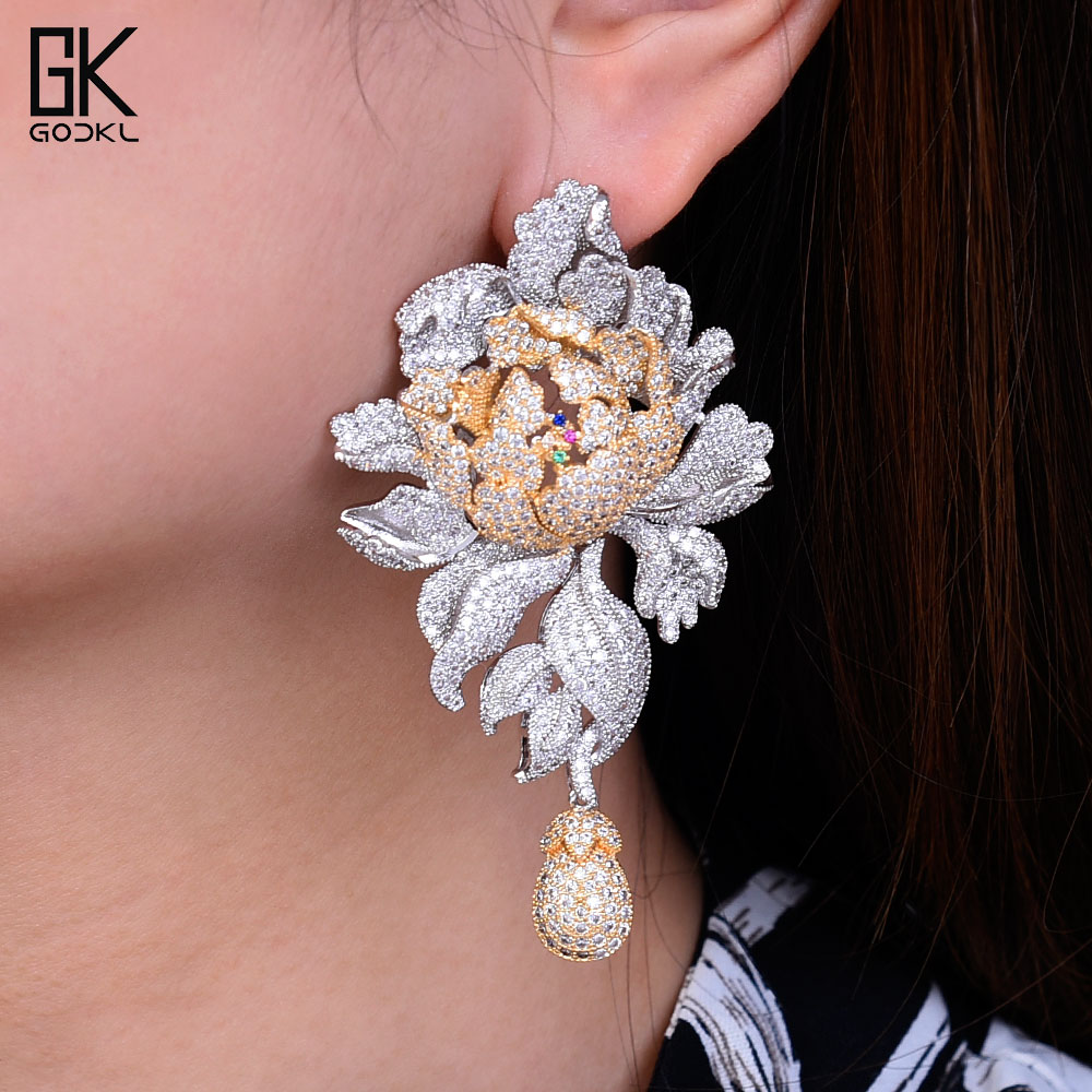 Godk 76mm Luxury Peony Flower Blossom Cubic Zirconia Women Statement Long Drop Earring Wedding Party Bridal Fringed Jewelry Gift by Ali Express.Com