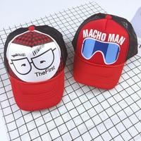 Printed Sunglasses Boys Girls Hip Hop Baseball Caps Mesh Adjustable Snapback Street Fashion Hat Hiphop Gorras