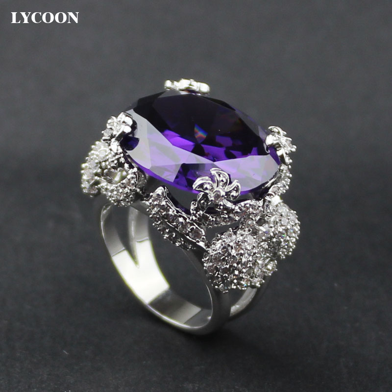 LYCOON Woman s luxury brand silver plate ring prong setting AAA cubic zirconia with big oval