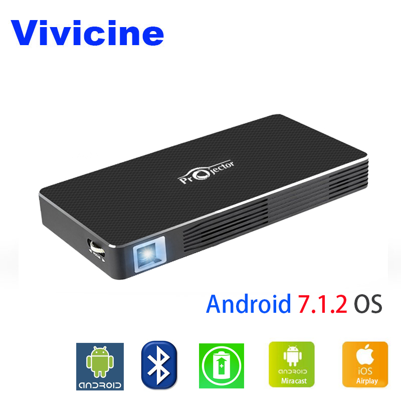 Vivicine Smart Handheld Projecteur C800W, 200 ANSI Lumens, Android Bluetooth 4.0 WiFi, Smartphone PC Miracast Airplay Proyector