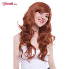 L-email wig New Women Cosplay Wigs 60cm 23.62inch Long Wavy Fox Red Heat Resistant Synthetic Hair Perucas Cosplay Wig цена 2017