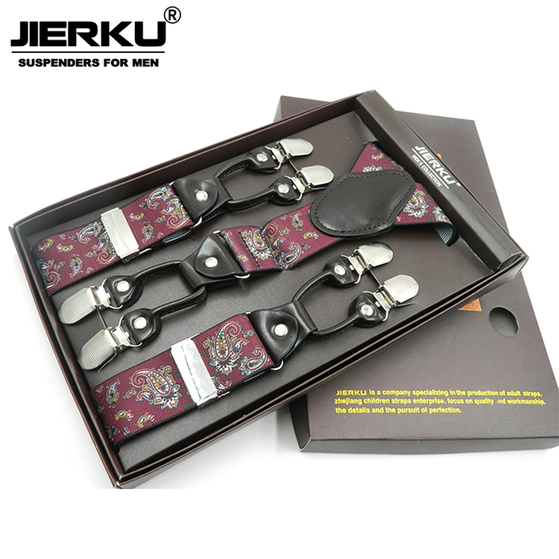 JIERKU Suspenders Mans Braces 6 Clips Suspensorio Fashion Trousers Strap Father/Husbands Gift 3.5*120cm ...