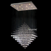 Modern Diamond Raindrop TOP K9 Crystal LED Chandelier Lamp Lighting Fixture For Dining Room