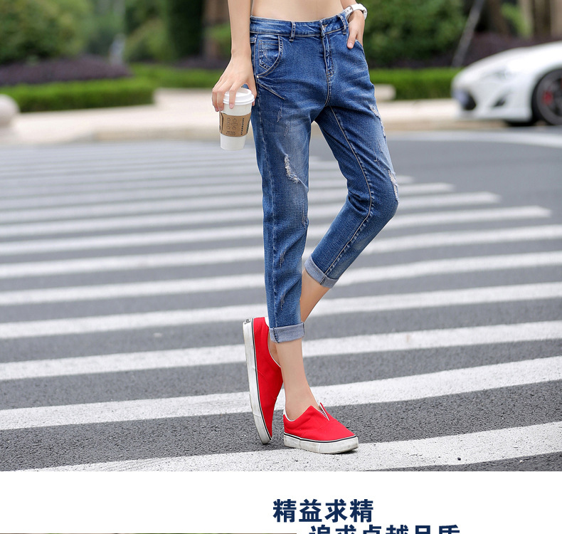 2017 Women Summer Stretch Hole Straight Jeans Ankle Length Large Size Casual Female Denim Pants Cowboy Trousers Skinny Pant K197 plus size clothing suspenders mm women jeans 2016 ankle length braces denim trousers female hole bib pants