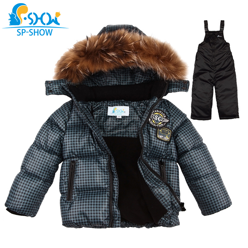 SP-SHOW Winter Children's Boys And Girls Thick Warm Winter Clothing sets Natural raccoon fur Brand Hooded Down Jacket+Trousers цены