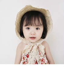 Kid's lace hat handmade straw hat baby female sun hat
