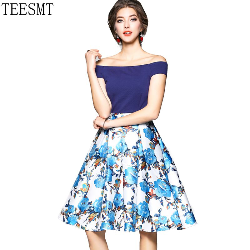 blue and print Patchwork Color Dress for Women Retro A Line Girl Casual Robe Femme Tunic ...