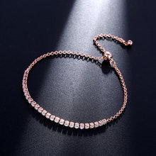 CARSINEL Luxury Bracelets for Women Rose Gold color White AAA Cubic Zircon Wedding Jewelry For Female Wholesale BR0070(China)