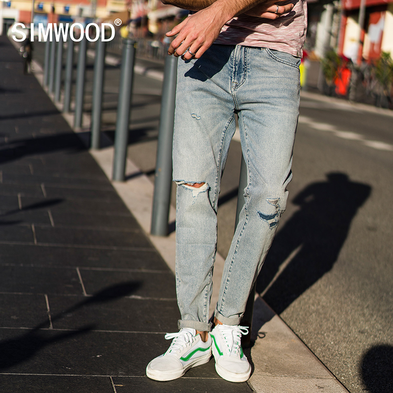 SIMWOOD 2018 Autumn New Hole Jeans Men Fashion Ripped Denim Trousers Patchwork Slim Fit Brand Clothing Plus Size 180075 autumn men straight jeans plus size 28 to 34 patch hole denim trousers slim jeans