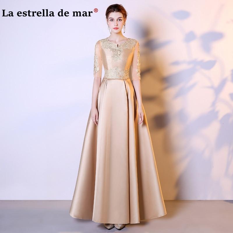 vestidos de festa vestido longo para casamento 2018 V neck lace and satin half sleeves a Line champagne gold   Bridesmaids     Dresses