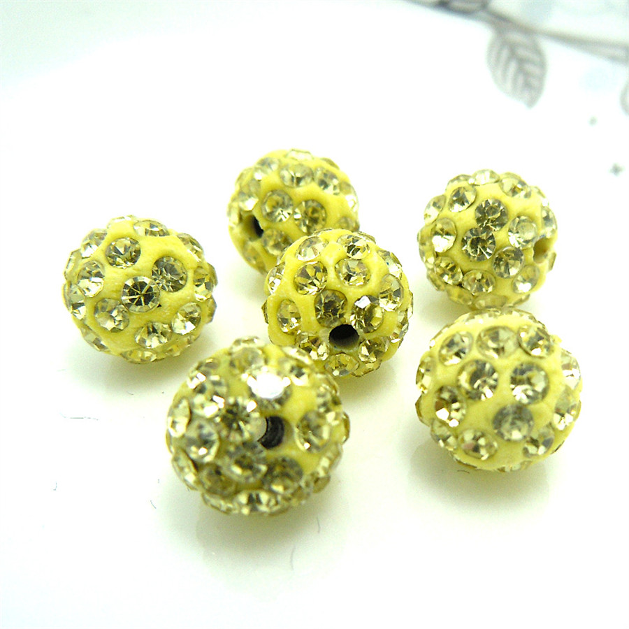 33color 50pcs 10mm Lemon Yellow Shamballa Beads Clay Pave Rhinestone Crystal Shamballa Ball Beads For Diy Jewelry Making Beads