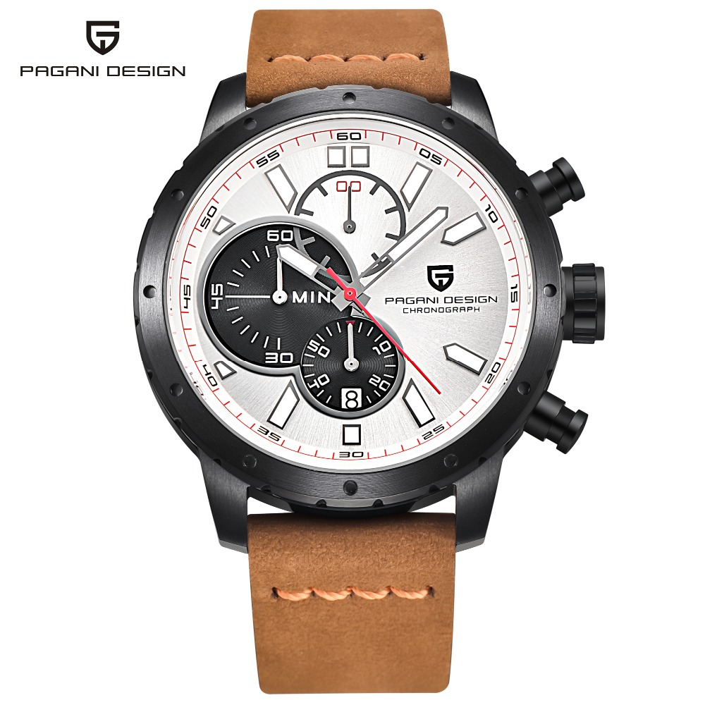 Pagani design watch men military leather quartz watch mens watches top brand luxury chronograph for Celebrity watch brand male