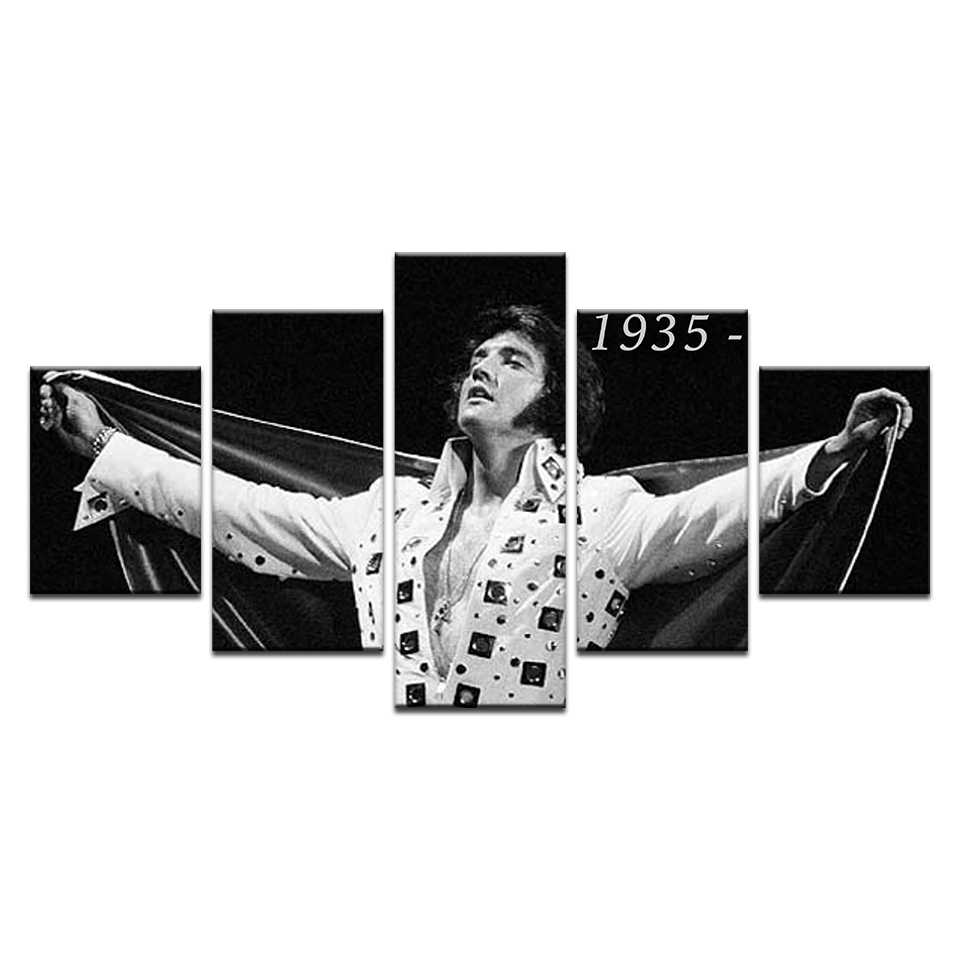 Music Legend Elvis Presley's Poster Wall Art Canvas Painting HD Printed Pictures Home Decor Canvas 5 Pcs Modular Picture