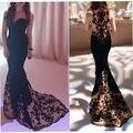 2017 Nuevo Bordado Elegante Negro Sirena Vestidos de Noche Largos de Novia de Raso Top Sheer Cuello Vestido De Fiesta Vestido Formal