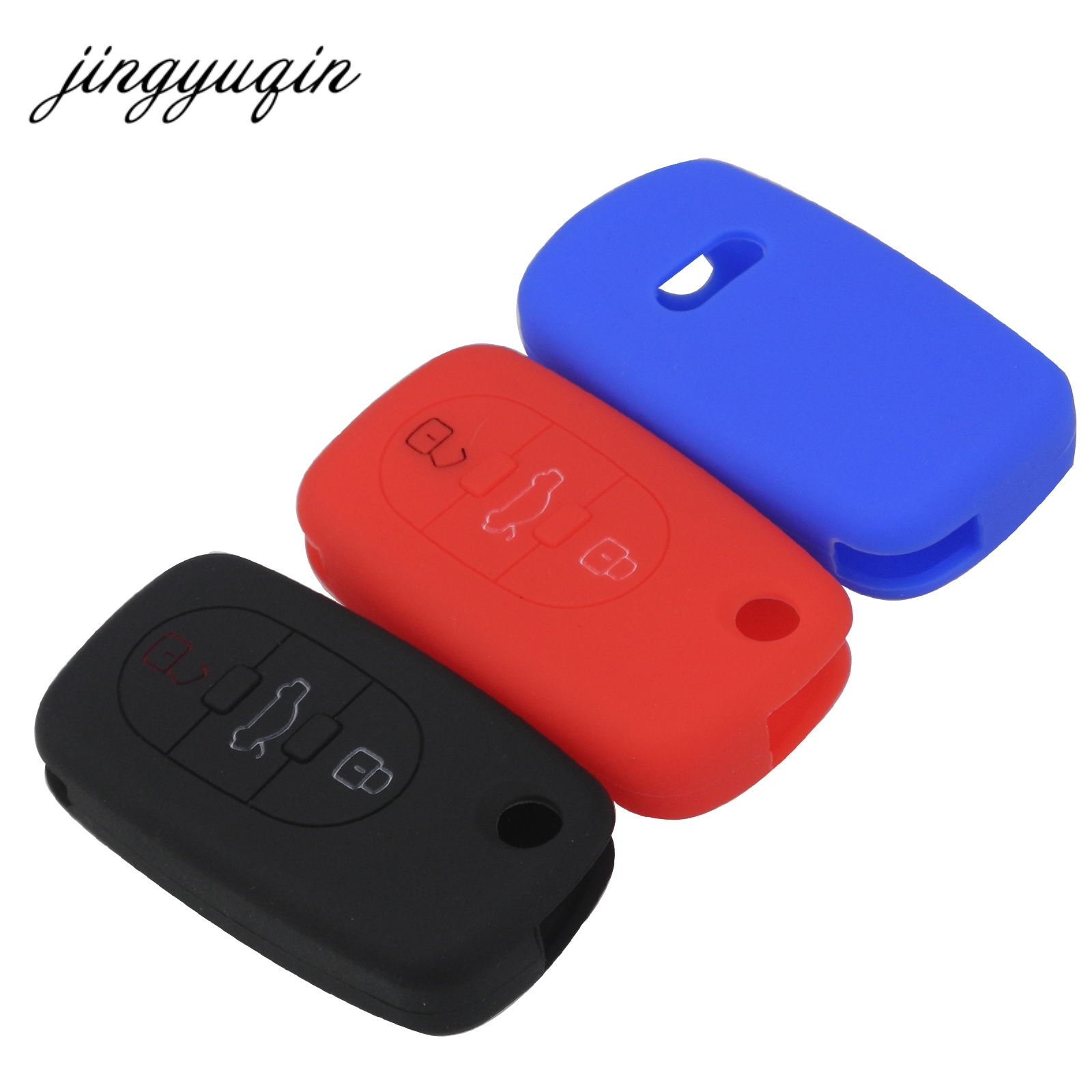 jingyuqin New Car Silicone Skin Key Case For Audi A3 A4 A6 A8 TT 3 Button Flip Folding Remote Key Shell Cover Protect Holder цена и фото