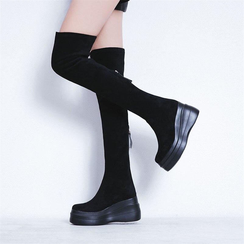 Bottes Femme Noir Rond Plates Fermeture Femmes Le Plat Genou Conasco Bout formes Automne Mode Éclair Hauts Chaussures Chaud Élégantes gris Sur Hiver vXOFwWAwqZ