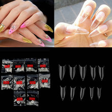 500pcs Nail Tips Women Girl Transparent Clear Natural Stiletto Point F