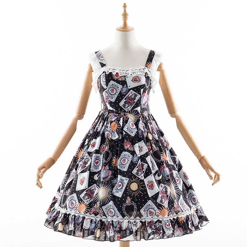 Summer Teen Girls Lolita Strap Dress Magic Poker Playing Cards Printed Midi-Length Sling Dress Shirring Lace Dress For Women
