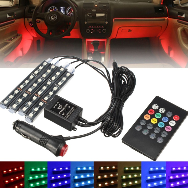 Hot RGB 4x 36 LED Car Charge 12V 10W Glow Interior Decorative 4in1 Atmosphere Blue Inside Foot Light Lamp With Remote Control high quality 4pcs 3 led universal car accessory glow interior decorative atmosphere light purple orange lamp