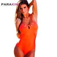 PARAKINI Novo Maiô de Uma Peça Sexy Swimwear Vermelho Bandage Sem Encosto Cruz Senhora Empurrar Para Cima Maiô implantes Mamários Praia Wear