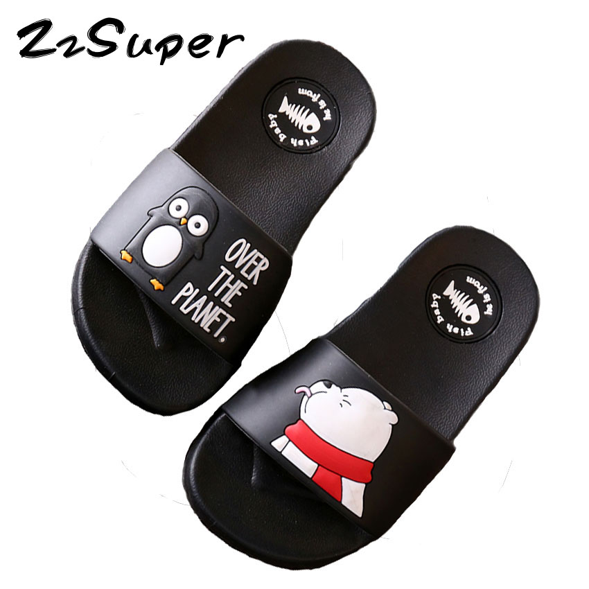 Zzsuper Family Summer Slippers Baby Boys Flip Flops Cartoon Animal Print Open Toe Beach Wear Sandals Slippers For Kids Girls