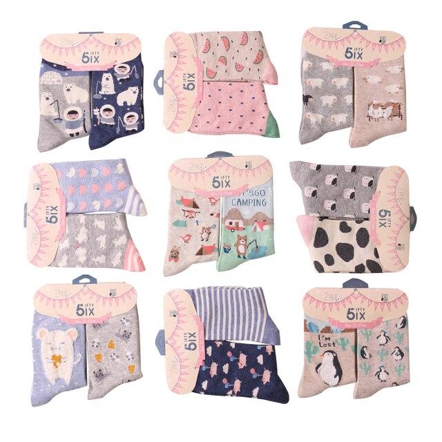 Новое поступление 2015 года: стильные брендовые женские носки, креативные носки с зверями их мультфильмов, женские носки с рисунками из коллекции осень-зима 2 шт./лот
