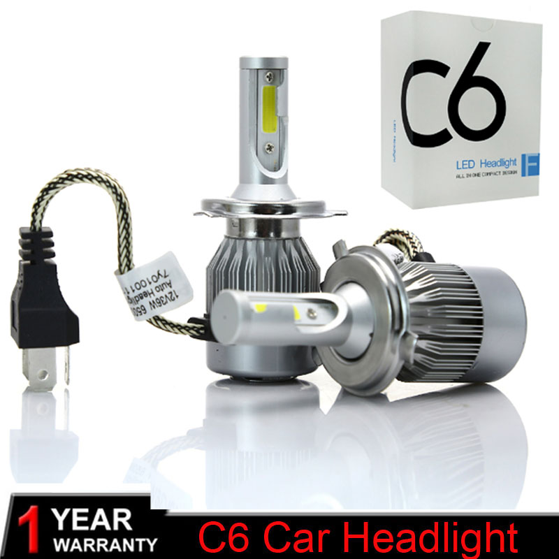 2Pcs 12V 24V Car Headlight H4 LED H7 H1 H3 H11 H13 HB2 HB4 HB5 9004 9005 9006 9007 72W 7600LM Auto Headlamp 6000K Light Bulb