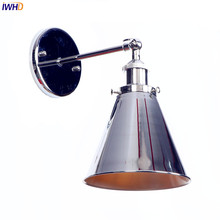 IWHD Silver Arm Vintage LED Wall Lamps Bedroom Stair Edison Loft Style Industrial Retro Wall Lights Fixtures Sconce Luminaire vintage loft style edison clock wall lamps sconce industrial lighting retro wood gear wall lighst fixtures iron water pipe lamps